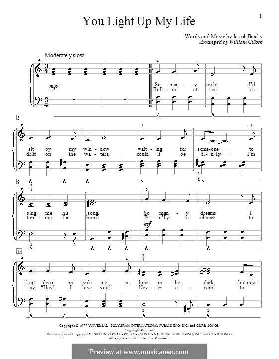 You Light Up My Life: For piano by Joseph Brooks