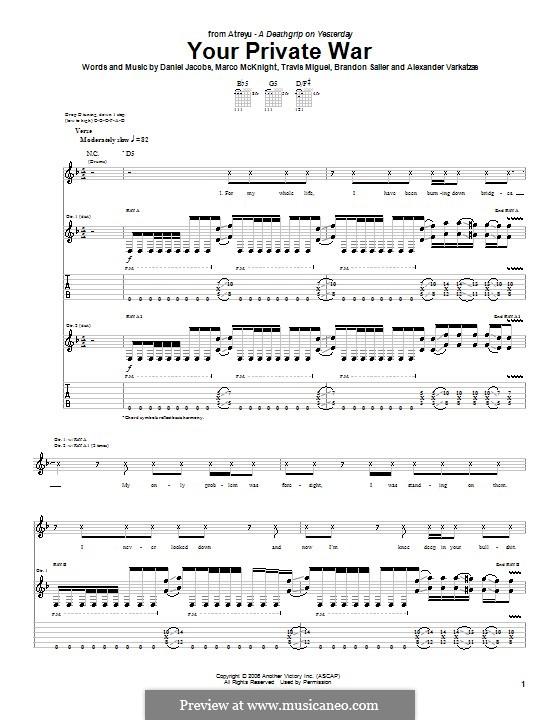 Your Private War (Atreyu): For guitar with tab by Daniel Jacobs, Alexander Varkatzas, Brandon Saller, Marco McKnight, Travis Miguel