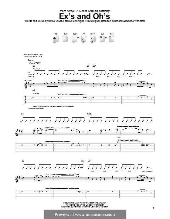Ex's and Oh's (Atreyu): For guitar with tab by Daniel Jacobs, Alexander Varkatzas, Brandon Saller, Marco McKnight, Travis Miguel