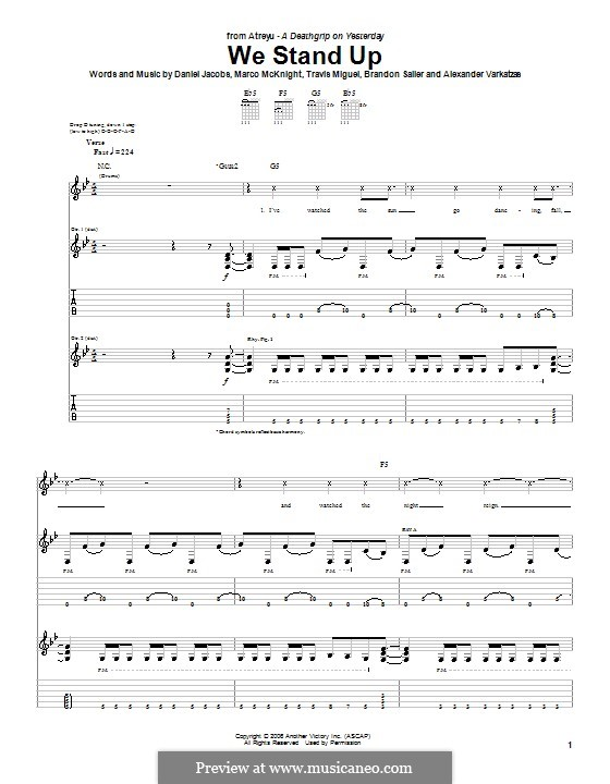 We Stand Up (Atreyu): For guitar with tab by Daniel Jacobs, Alexander Varkatzas, Brandon Saller, Marco McKnight, Travis Miguel