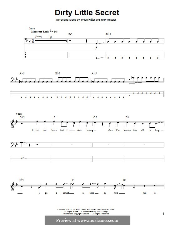 Dirty Little Secret (The All-American Rejects): For bass guitar with tab by Nick Wheeler, Tyson Ritter