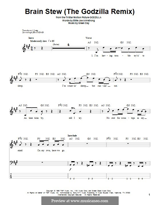 Brain Stew / The Godzilla Remix (Green Day): For bass guitar with tab by Billie Joe Armstrong