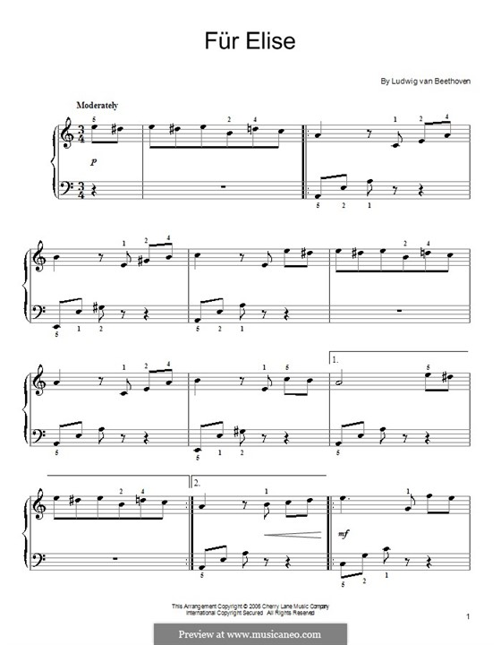 For Elise, for Piano, WoO 59: Theme by Ludwig van Beethoven