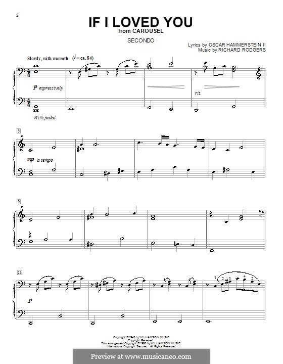 If I Loved You (from Carousel): For piano four hands by Richard Rodgers