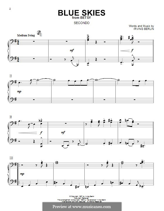 Blue Skies: For piano four hands by Irving Berlin