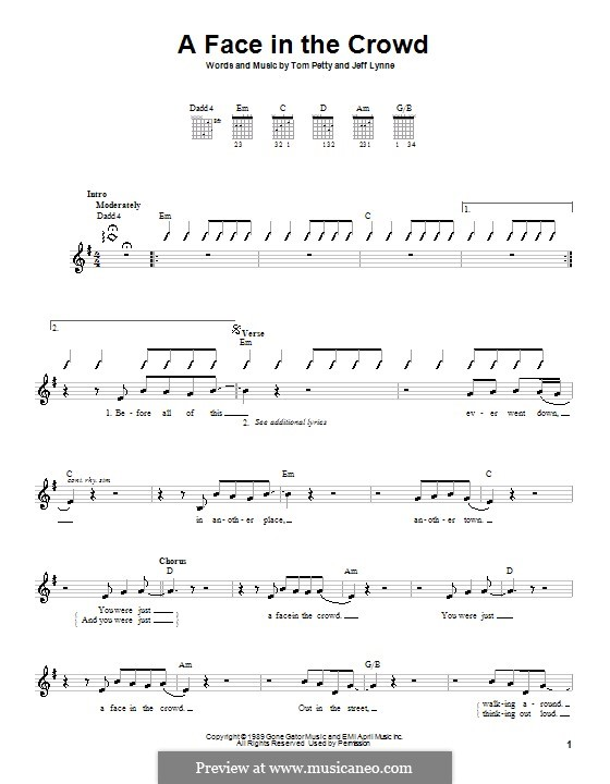 A Face in the Crowd: For guitar (with strumming patterns) by Jeff Lynne