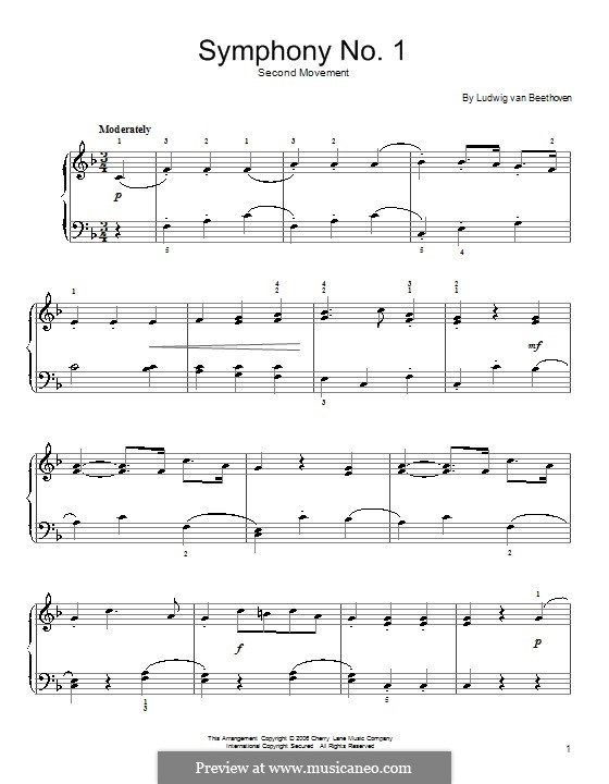 Fragments: Movement III (Theme). Version for easy piano by Ludwig van Beethoven