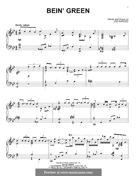 Bein' Green (Kermit the Frog): For piano by Joe Raposo