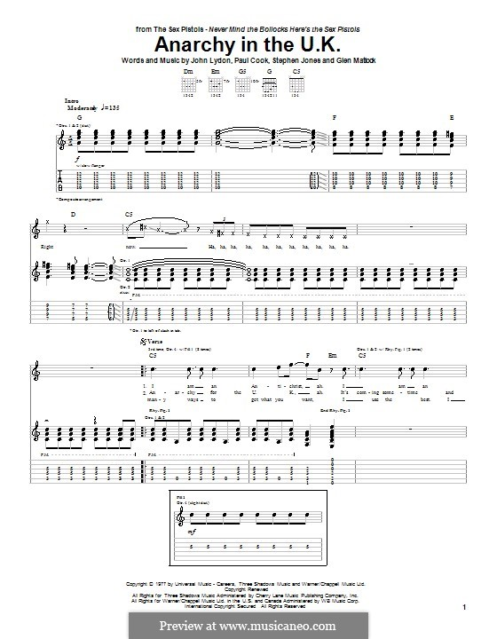 Anarchy in the U.K. (The Sex Pistols): For guitar with tab by Stephen Jones, Glen Matlock, Johnny Rotten, Paul Thomas Cook