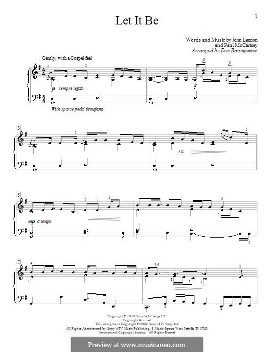 Let it Be, for Piano: With fingering by John Lennon, Paul McCartney