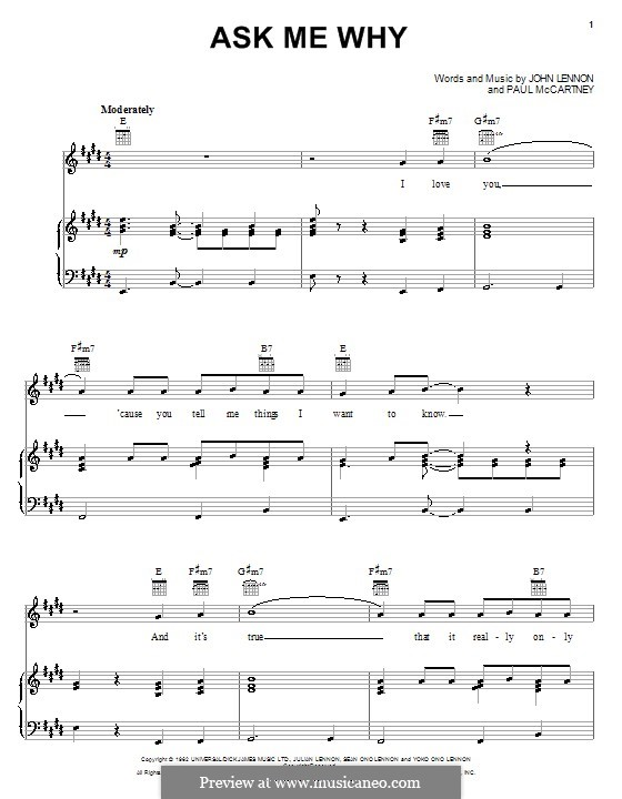 Ask Me Why (The Beatles): For voice and piano (or guitar) by John Lennon, Paul McCartney