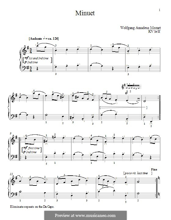 Minuet for Piano in G Major, K.1/1e: With fingering by Wolfgang Amadeus Mozart