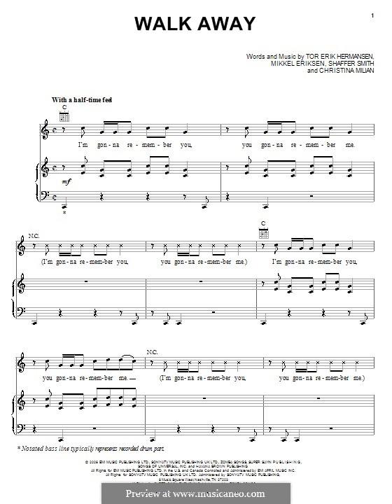 Walk Away (Paula DeAnda featuring The DEY): For voice and piano (or guitar) by Christina Milian, Emilio Cancio-Bello, Mikkel Storleer Eriksen, Ne-Yo, Tor Erik Hermansen
