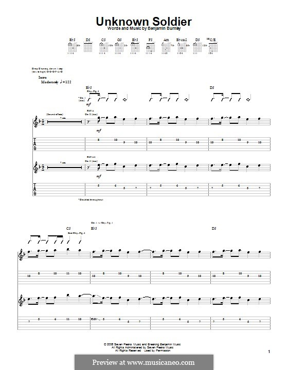 Unknown Soldier (Breaking Benjamin): For guitar with tab by Benjamin Burnley
