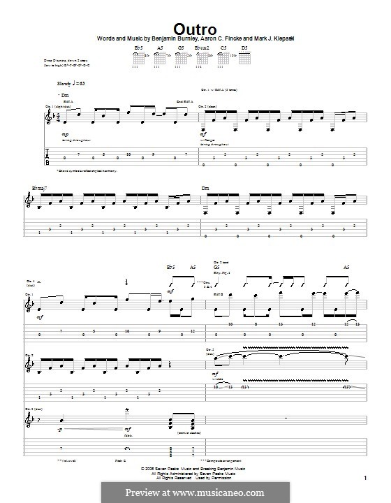Outro (Breaking Benjamin): For guitar with tab by Aaron C. Fincke, Benjamin Burnley, Mark J. Klepaski