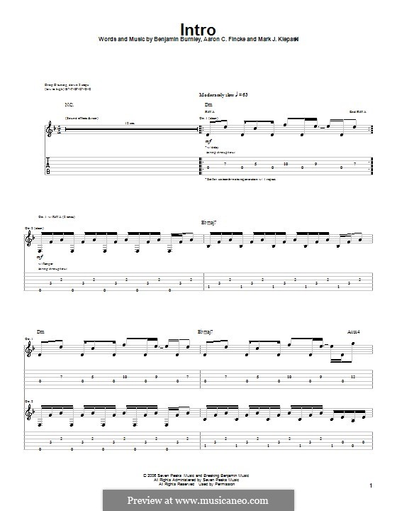 Intro (Breaking Benjamin): For guitar with tab by Aaron C. Fincke, Benjamin Burnley, Mark J. Klepaski