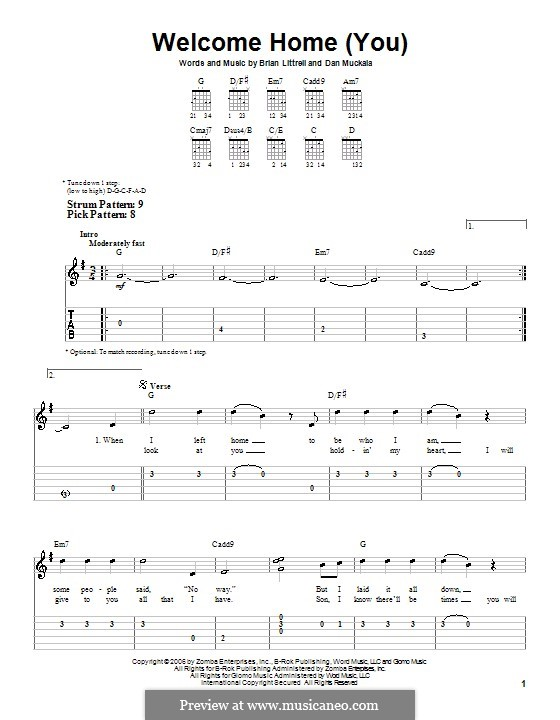 Welcome Home (You): For guitar (very easy version) by Brian Litrell, Dan Muckala