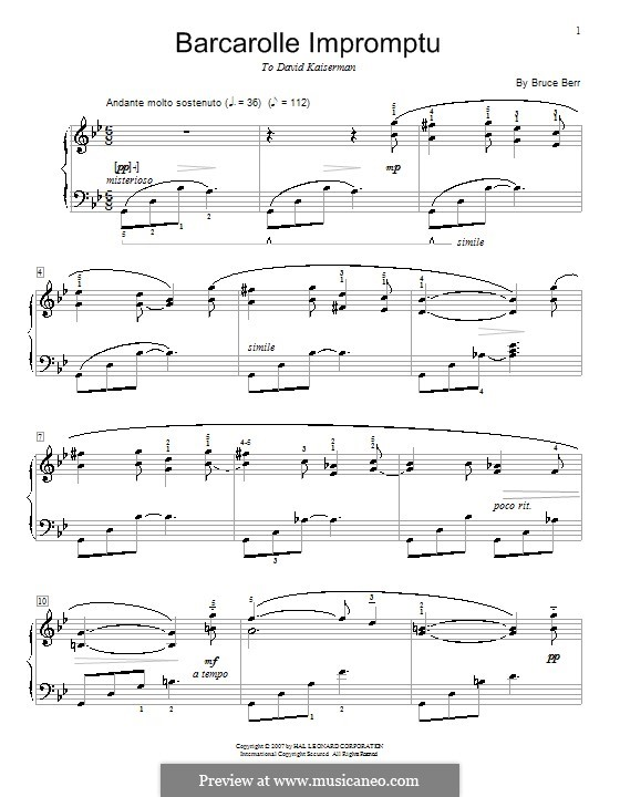 Barcarolle Impromptu: For piano by Bruce Berr