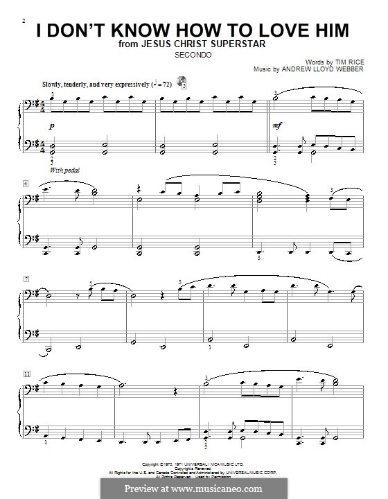 I Don't Know How to Love Him: For piano piano four hands by Andrew Lloyd Webber