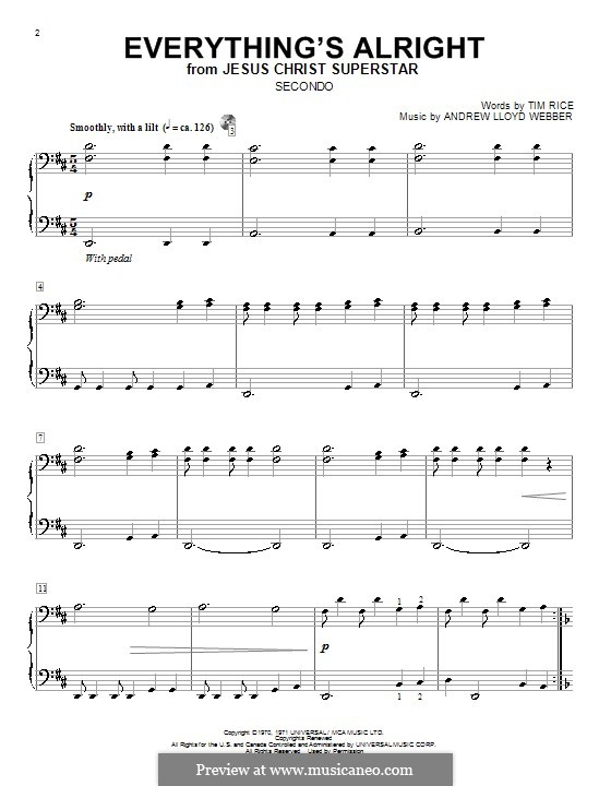 Everything's Alright: For piano four hands by Andrew Lloyd Webber