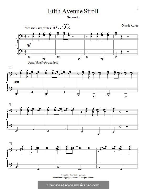 Fifth Avenue Stroll: For piano four hands by Glenda Austin