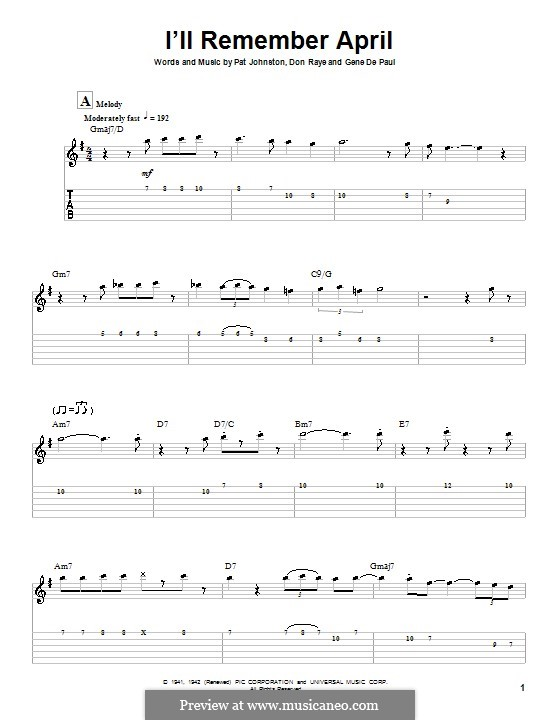 I'll Remember April (Woody Herman): For guitar with tab by Don Raye, Gene de Paul, Patricia Johnson