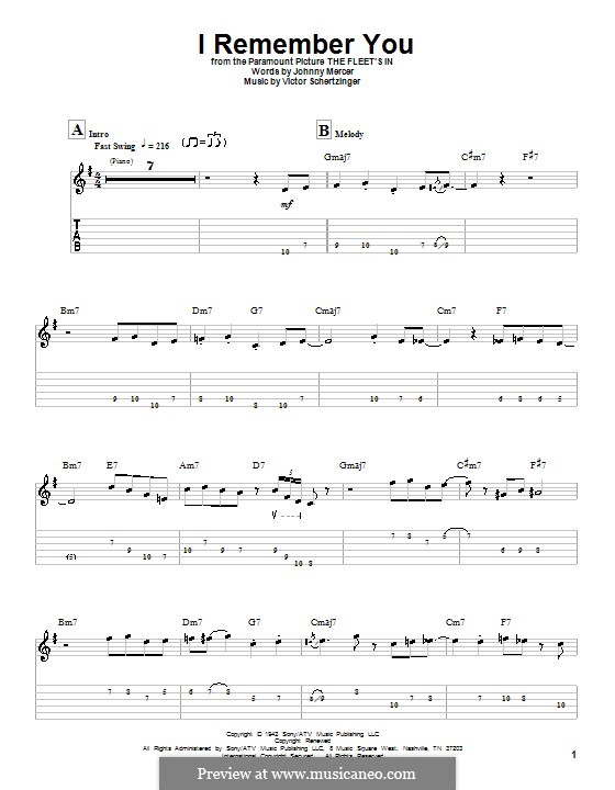 I Remember You (Diana Krall): For guitar with tab by Victor Schertzinger