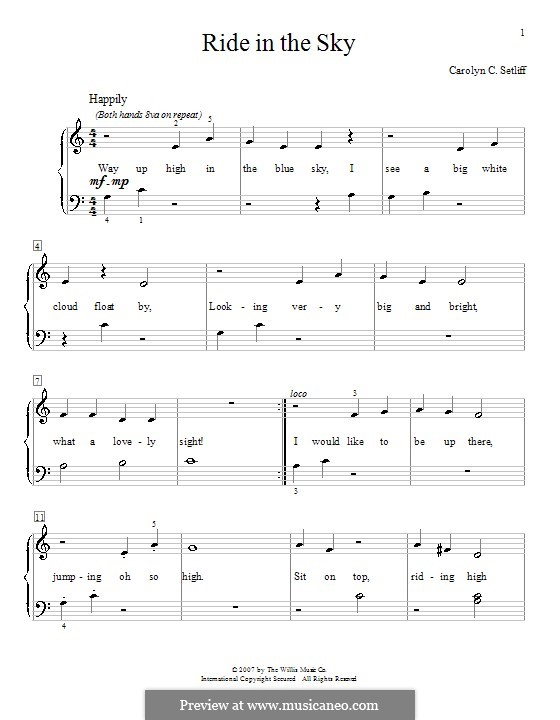 Ride in the Sky: For piano by Carolyn C. Setliff