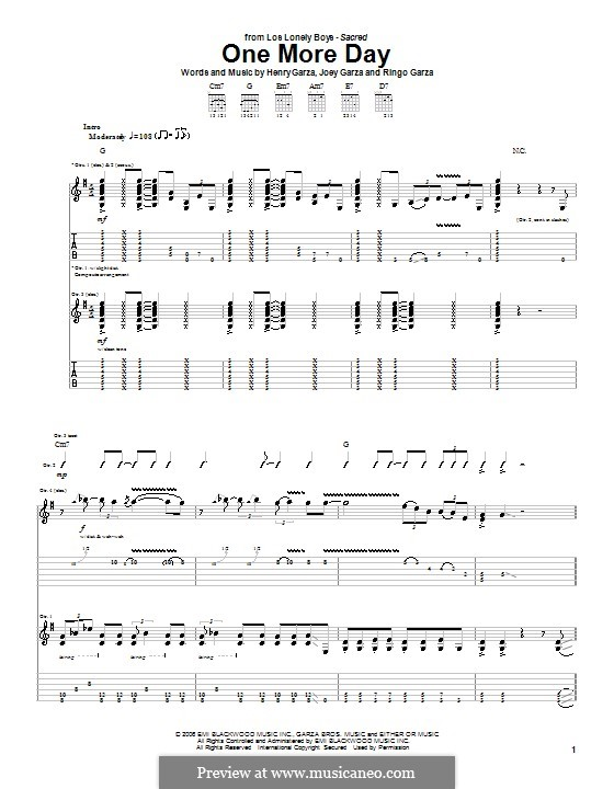 One More Day (Los Lonely Boys): For guitar with tab by Henry Garza, Joey Garza, Ringo Garza