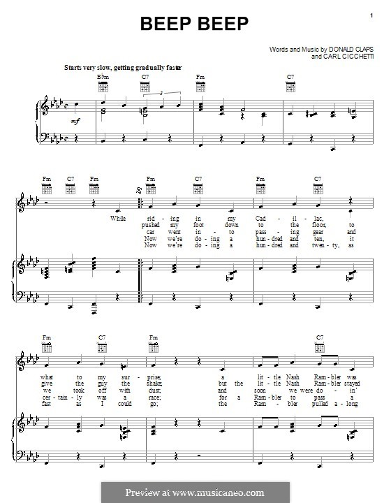 Beep Beep (The Playmates): For voice and piano (or guitar) by Carl Cicchetti, Donald Claps