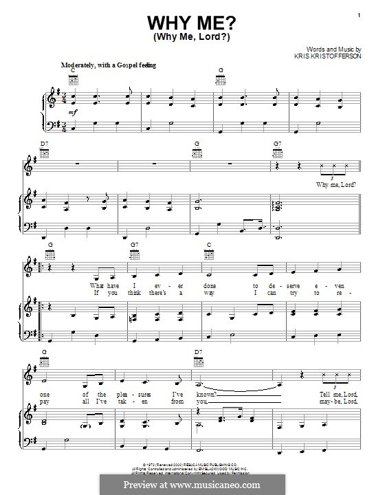 Why Me? (Why Me, Lord?): For voice and piano (or guitar) by Kris Kristofferson