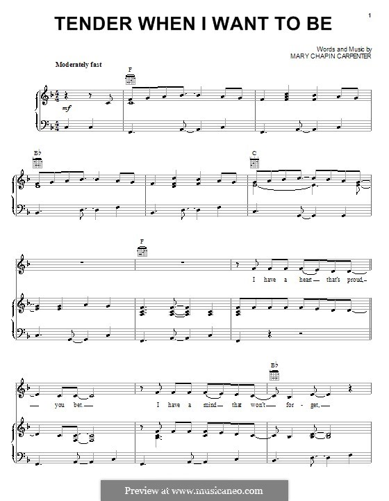 Tender When I Want To Be: For voice and piano (or guitar) by Mary Chapin Carpenter