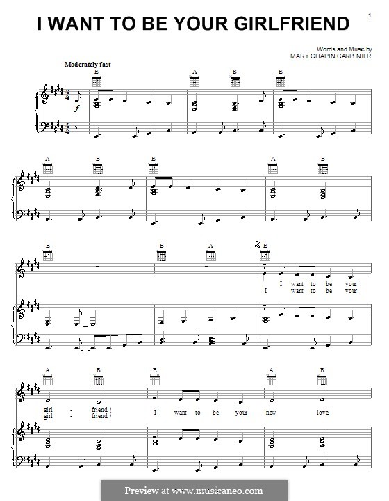 I Want To Be Your Girlfriend: For voice and piano (or guitar) by Mary Chapin Carpenter