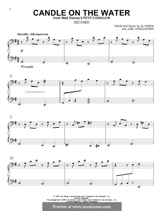 Candle on the Water (from Walt Disney's Pete's Dragon): For piano four hands by Al Kasha, Joel Hirschhorn