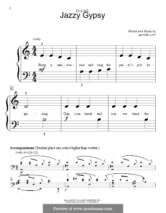 Jazzy Gypsy: For piano four hands by Jennifer Linn