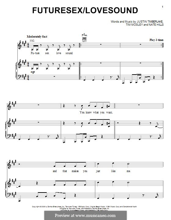 FutureSex/Lovesound (Justin Timberlake): For voice and piano (or guitar) by Floyd Nathaniel Hills, Timbaland