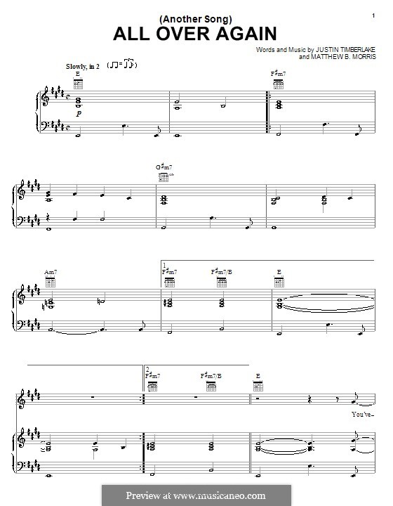(Another Song) All Over Again (Justin Timberlake): For voice and piano (or guitar) by Matthew B. Morris