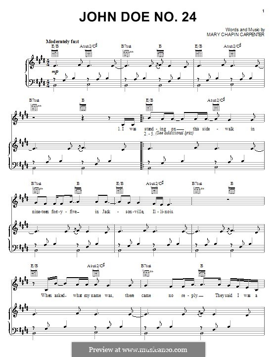 John Doe No.24: For voice and piano (or guitar) by Mary Chapin Carpenter