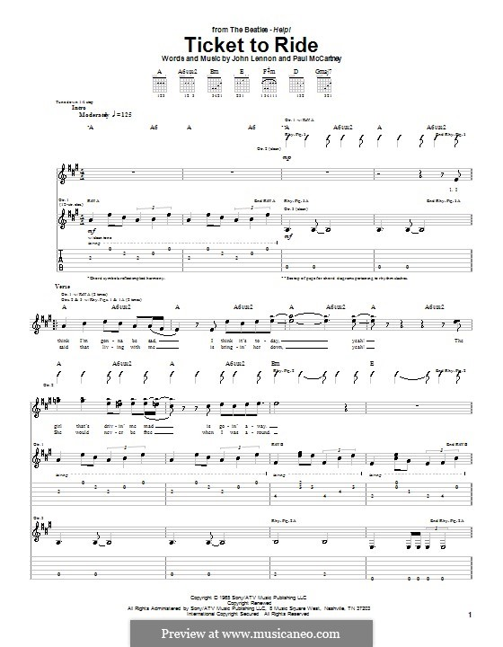 Ticket to Ride (The Beatles): For guitar with tabulature (A Major) by John Lennon, Paul McCartney
