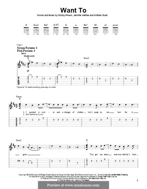 Want To (Sugarland): For guitar (very easy version) by Bobby Pinson, Jennifer Nettles, Kristian Bush