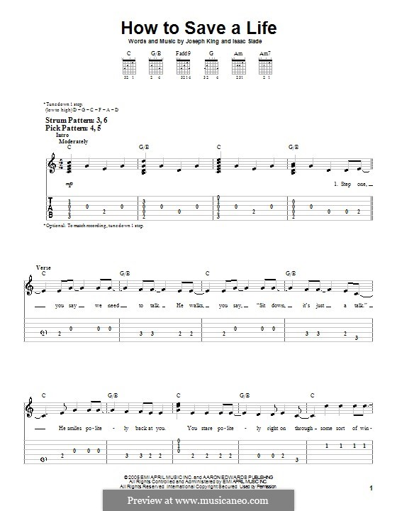 How to Save a Life (The Fray): For guitar (very easy version) by Isaac Slade, Joseph King