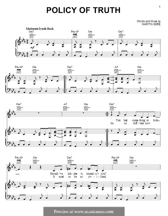 Policy of Truth (Depeche Mode): For voice and piano (or guitar) by Martin Gore
