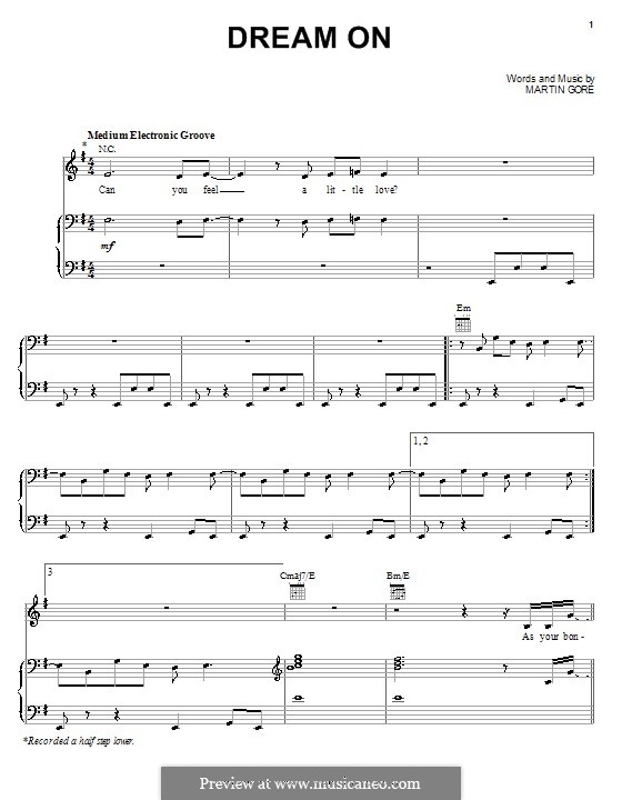 Dream On (Depeche Mode): For voice and piano (or guitar) by Martin Gore