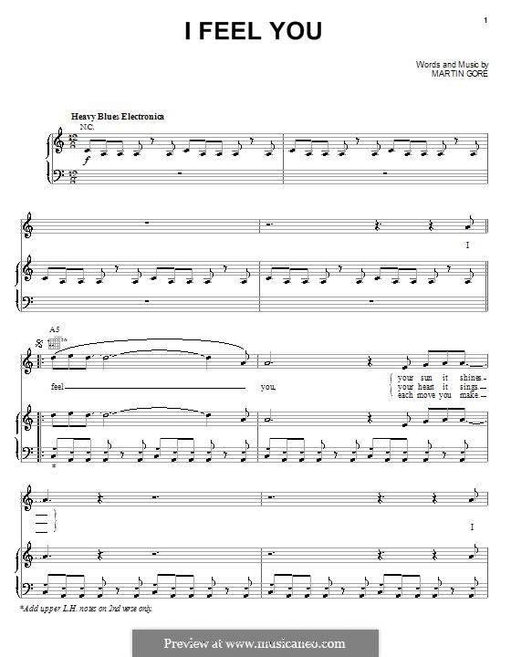 I Feel You (Depeche Mode): For voice and piano (or guitar) by Martin Gore