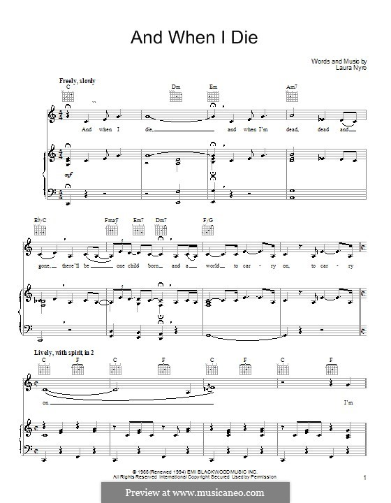 And When I Die (Blood, Sweat & Tears): For voice and piano (or guitar) by Laura Nyro