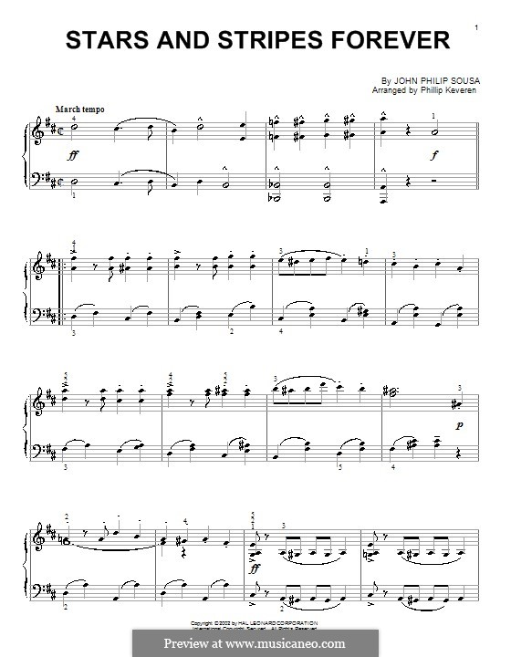 Stars and Stripes Forever : For piano (D Major) by John Philip Sousa