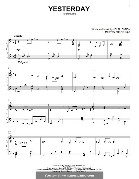 Yesterday, for Piano (The Beatles): For piano four hands by John Lennon, Paul McCartney