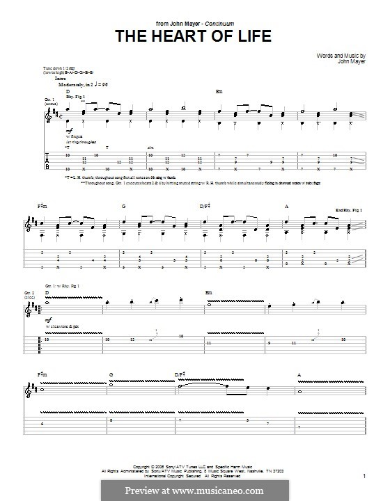 The Heart of Life: For guitar with tab by John Mayer