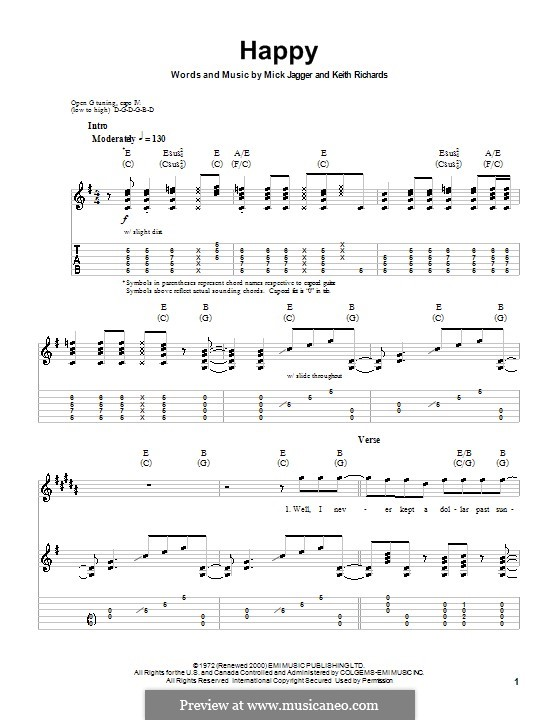 Happy (The Rolling Stones): For guitar with tab by Keith Richards, Mick Jagger
