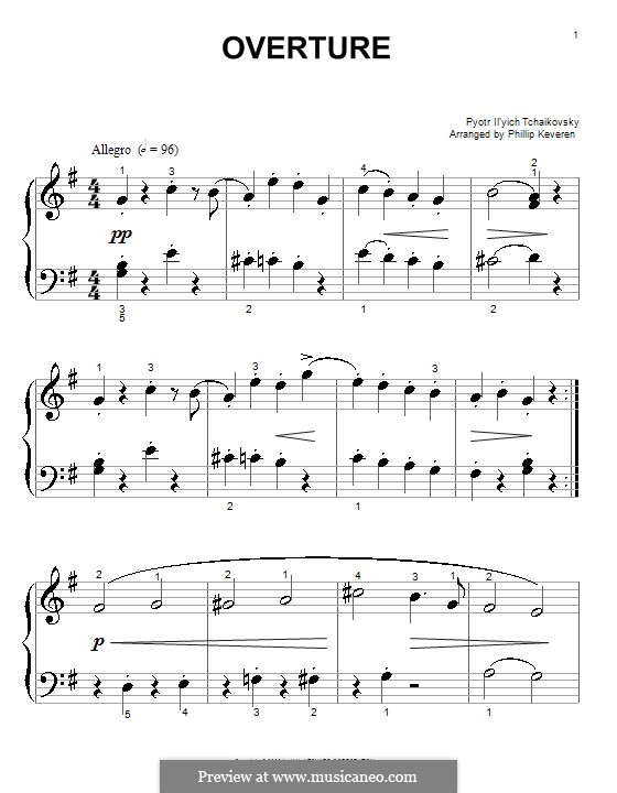 No.1 Miniature Overture : For easy piano by Pyotr Tchaikovsky